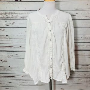 }AMERICAN EAGLE} White Boho Button Tunic